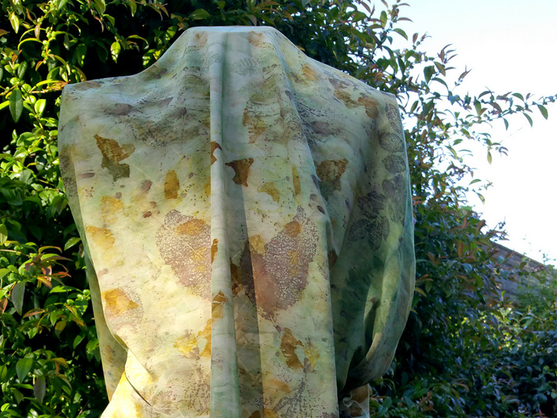 Ecoprinting on voile dress