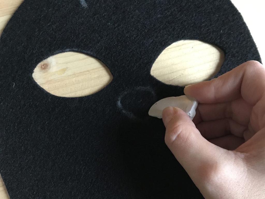 Tutorial felt Black Cat mask - step 3