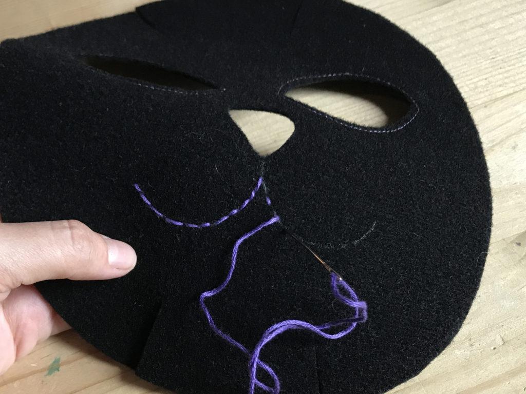 Tutorial felt Black Cat mask - step 5
