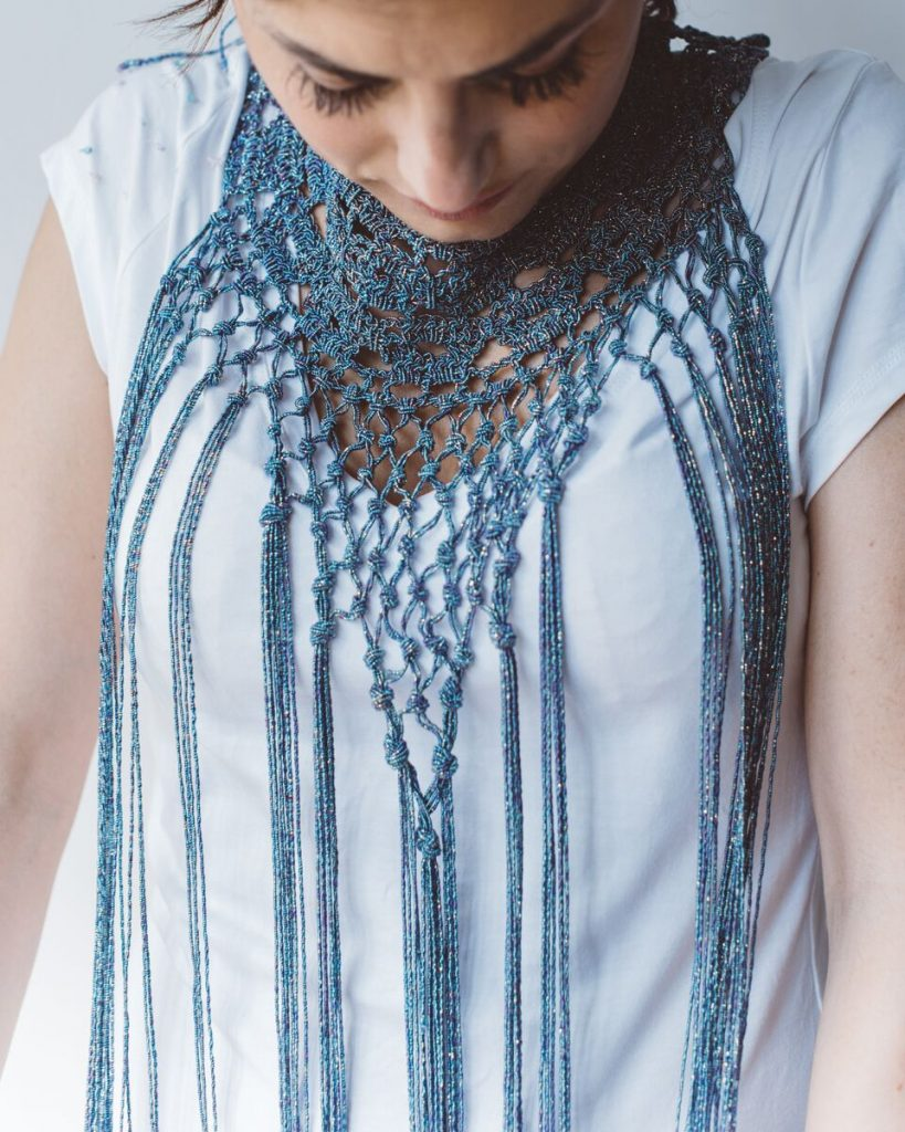 Charleston - filato lamè - pattern collana