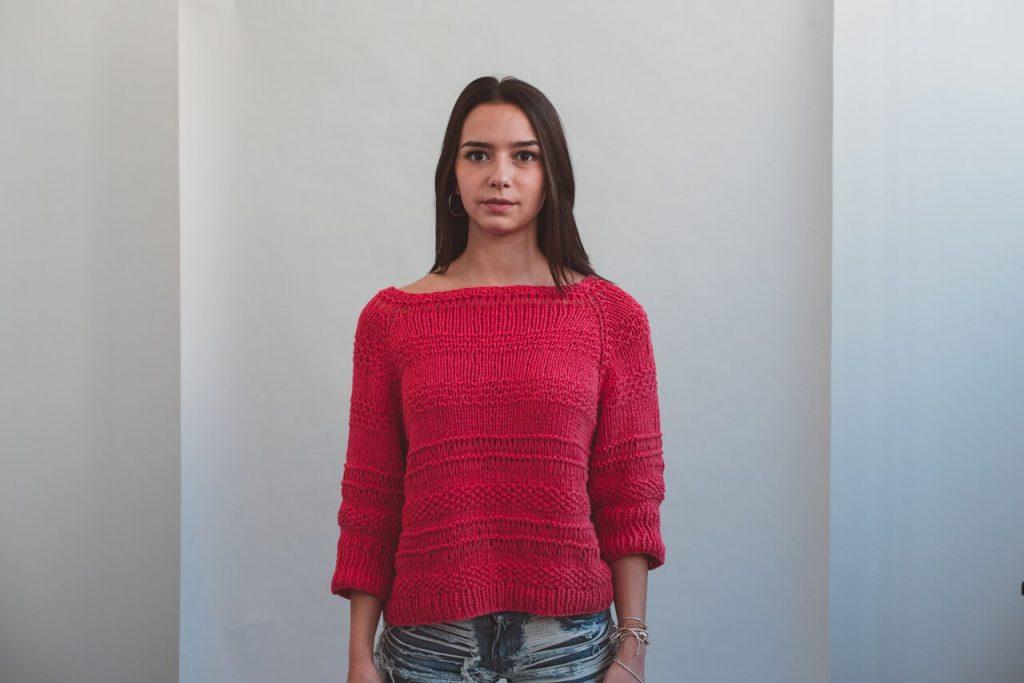 tutorial maglia maniche raglan - color garofano