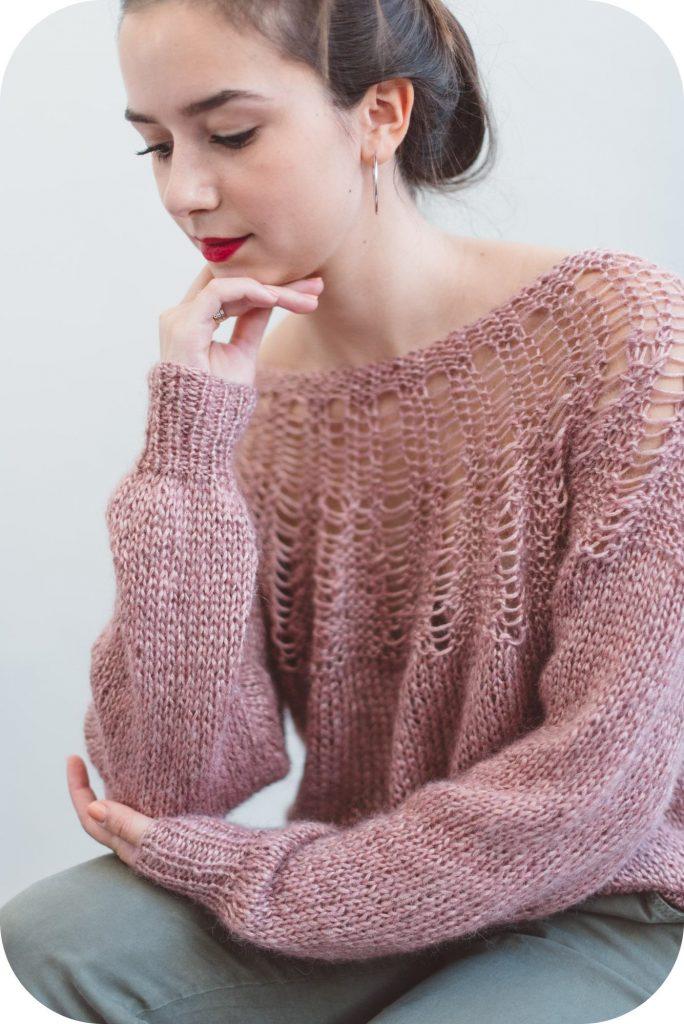 tutorial knitting - openwork yoke sweater