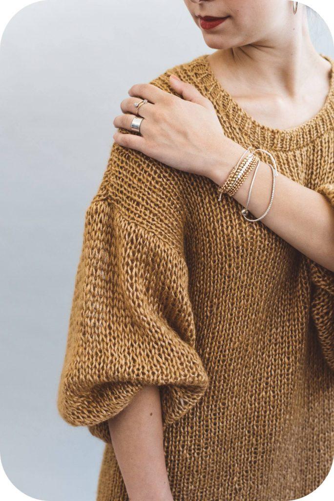 puff sleeve sweater - hokusai yarn