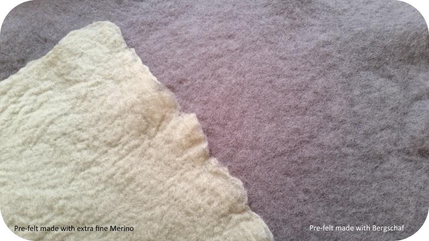 prefeltro di lana merino e prefeltro di lana bergschaf