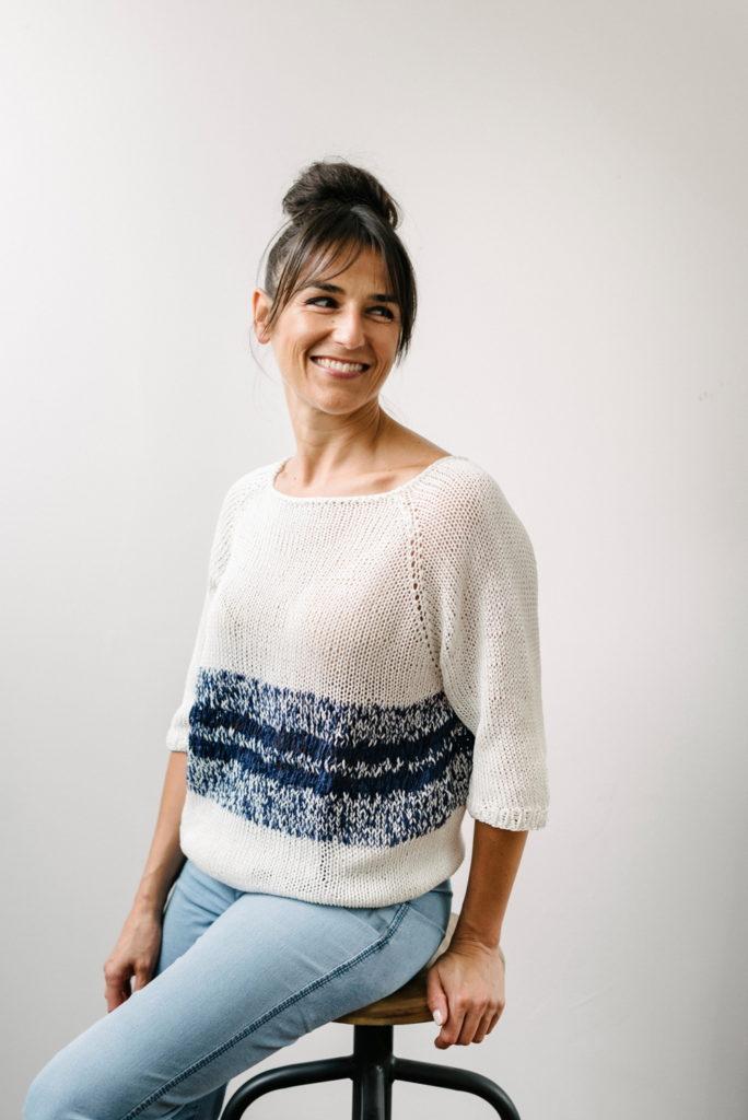 tutorial maglia ai ferri in cotone e nastri di seta