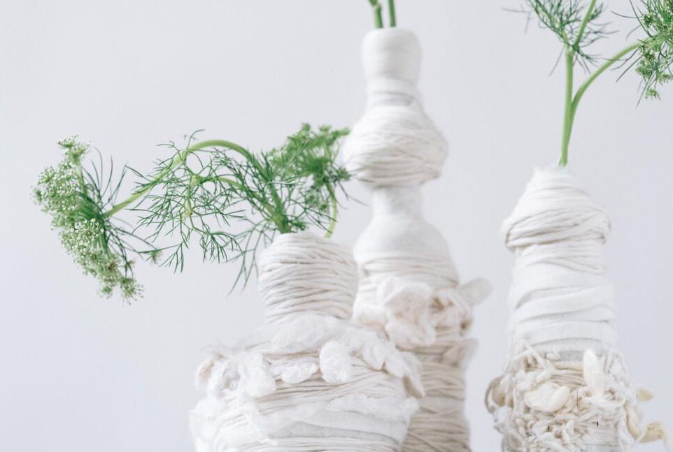 floral design - milky white felt