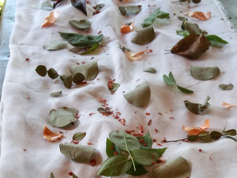 Ecoprinting - placing leaves on chiffon