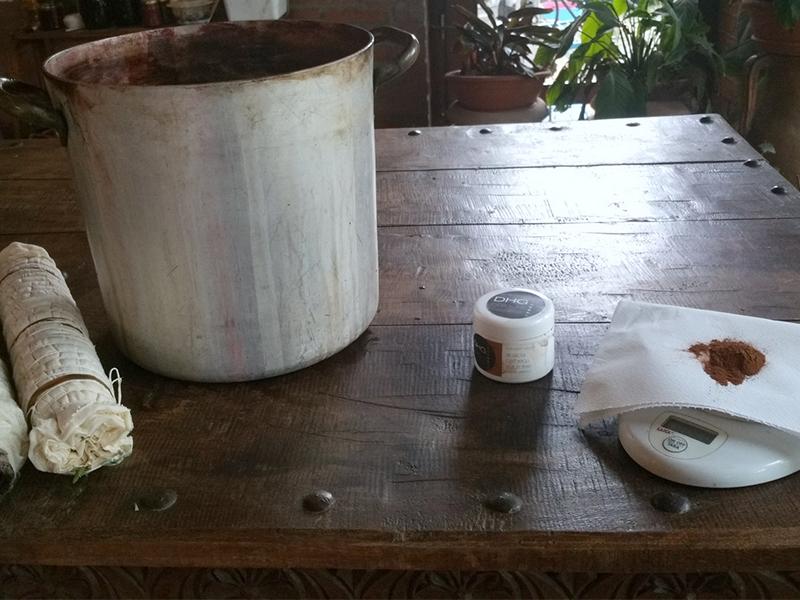 Ecoprinting - wool etamine boiling