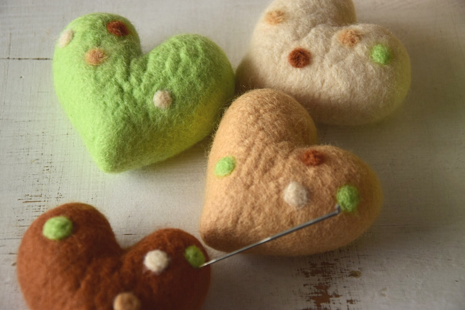 Christmas tree decorations - needle felted hearts