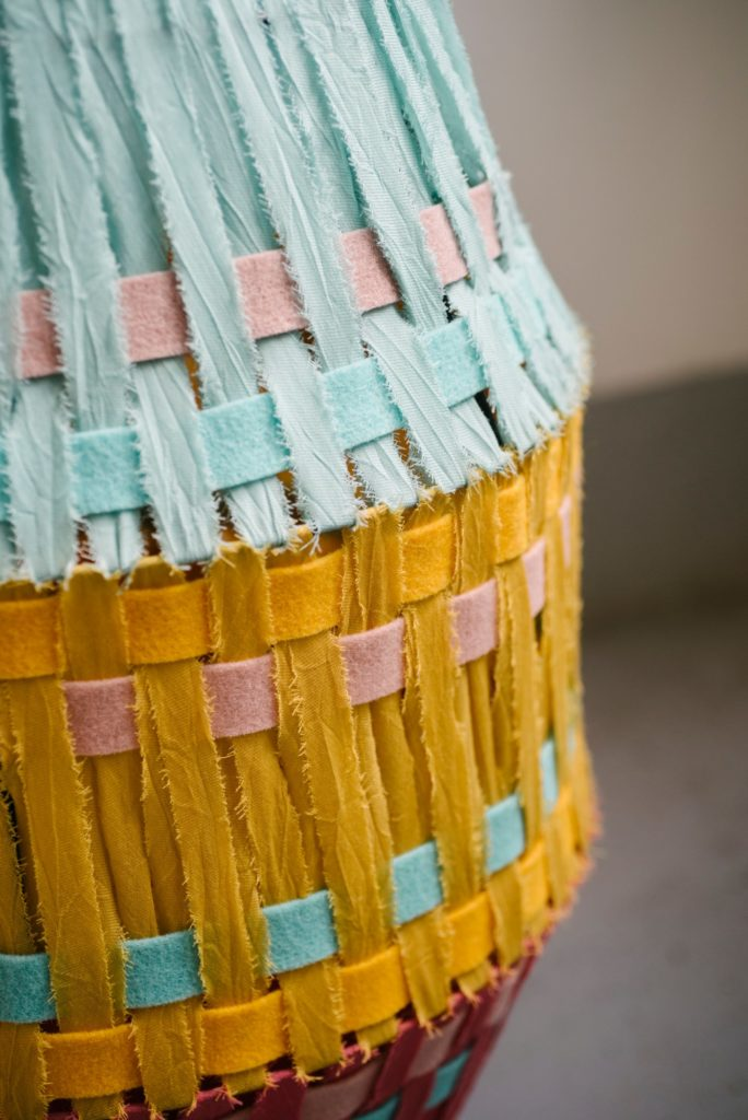 hanging lamps - felt and etamine ribbons